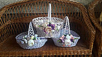 Декоративная корзина в сиреневым цвете