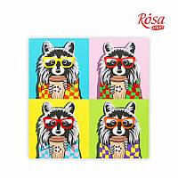 Полотно на картоні з контуром, «Pop Art Raccoon», 30*30, бавовна, акрил, ROSA START GPA284309