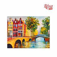 """Полотно на картоні з контуром, Міста """"Амстердам"""", 30*40, бавовна, акрил, ROSA START GPA284201"""