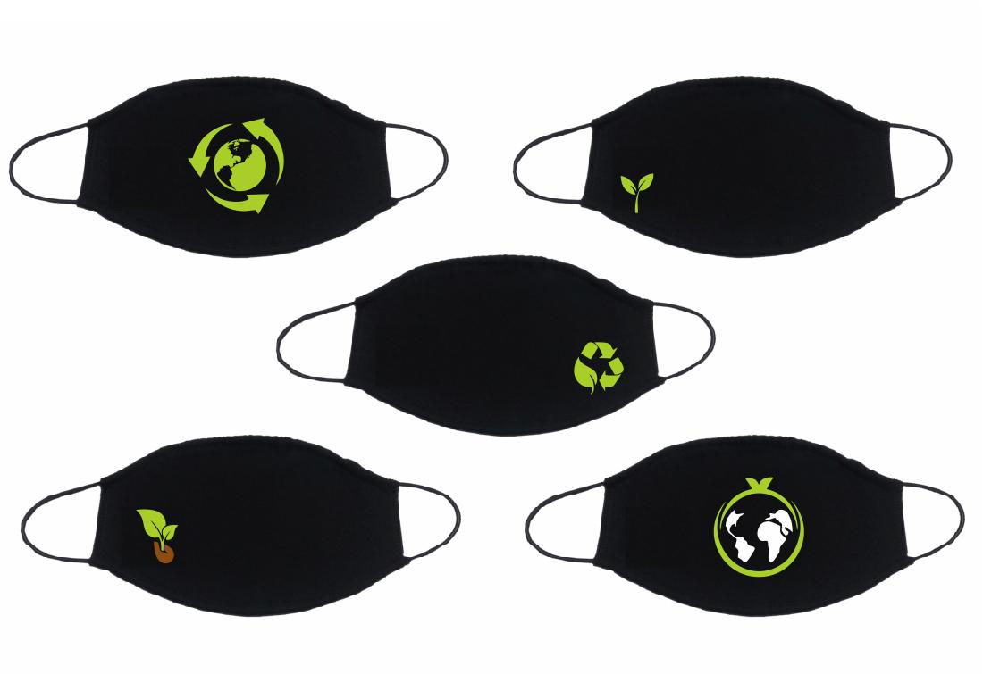 """Защитная МНОГОРАЗОВАЯ черная маска с принтом под фильтр/  Комплект 5 штук тематики """"Эко"""""""