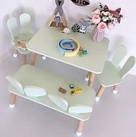 Детский деревянный набор столик+стульчик+лавочка. 100% дерево массив бук