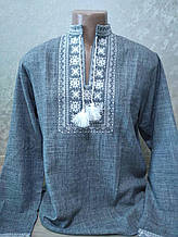 Мужская вышиванка серая с белой вышивкой - размер M (46)