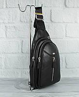 Кожаная сумка-слинг через плечо, бананка Desisan 1464-01 черная, Турция