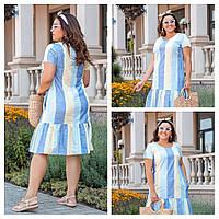Хлопковое полосатое повседневное платье, фото 1