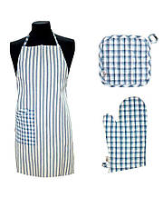 Набор для кухни фартук, прихватка, рукавица Кантри синий