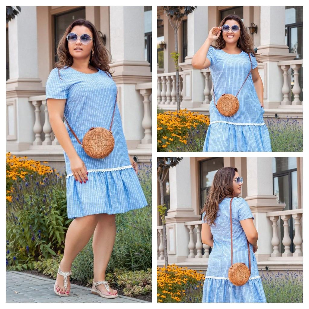 Летнее льняное свободное стильное платье