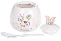 Сахарница керамическая с ложкой с объемным рисунком Веселый кролик