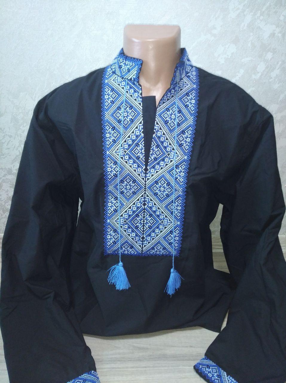 Мужская вышиванка черная с синей вышивкой - XXL (56)
