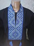 Мужская вышиванка черная с синей вышивкой - XXL (56), фото 2