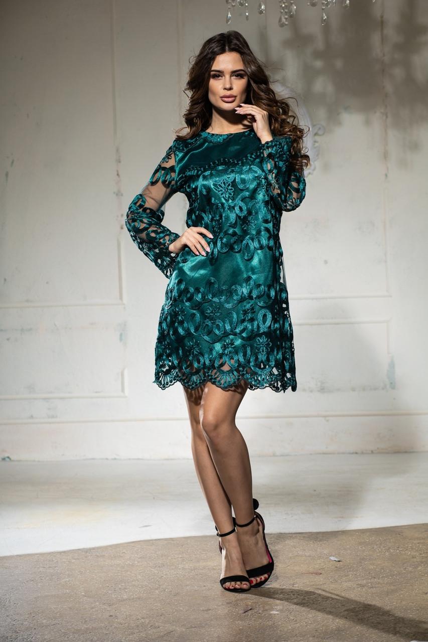 Вечернее платье с кружевом короткое молодёжное изумруд