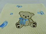 Плед детский Merinos Хлопок  Голубой 100х120, с вышивкой, фото 3