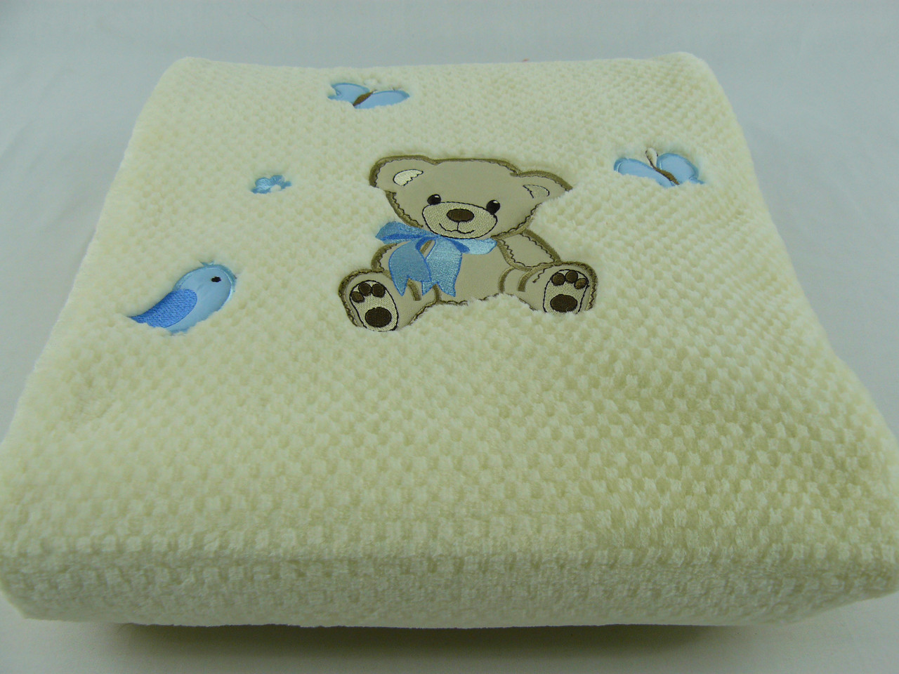 Плед детский Merinos Хлопок  Голубой 100х120, с вышивкой