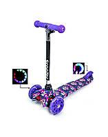 Детский самокат MINI 036, для девочек от 2-х лет, Светящиеся колеса Разные мультицвета 036