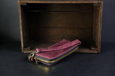 Кошелек клатч на круговой молнии с ремешком Винтажная кожа цвет Бордо