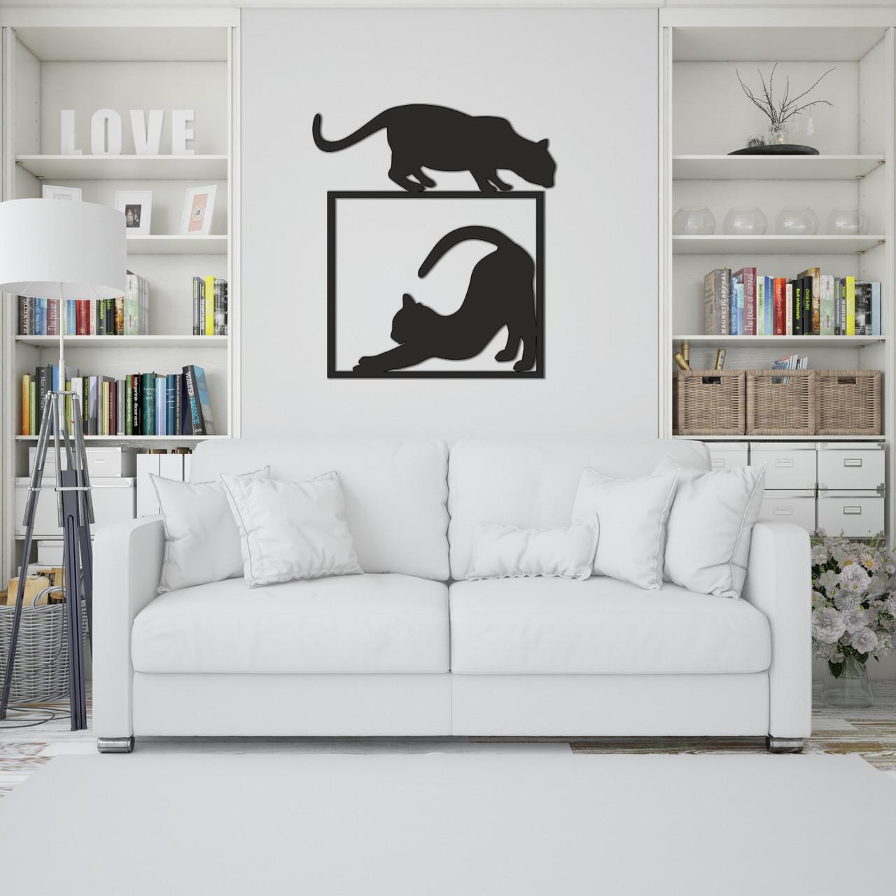 Интерьерное настенное панно из дерева «Кошки»