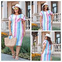 Летнее льняное платье футляр батальная серия женское, фото 1