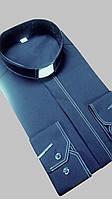 Черная рубашка с белой оздоблюющей строчкой с длинным рукавом, фото 1