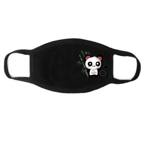 Черная маска для лица с печатным рисунком Панда