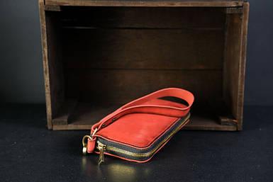 Кошелек клатч на круговой молнии с ремешком Кожа Итальянский краст цвет красный