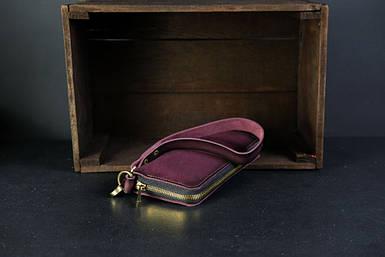 Кошелек клатч на круговой молнии с ремешком Кожа Итальянский краст цвет бордо