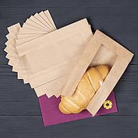 Бумажный крафт пакет с прозрачным окном 100*40*170