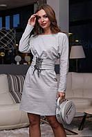 Женское платье трикотаж-двунитка с поясом на шнуровке 3980 ,в расцветках (44-50) серый 48