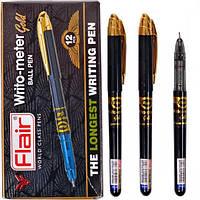 Ручка масляная, шариковая 10 км, синяя Flair 743G Writometer Gold