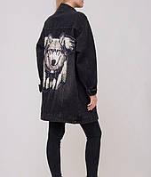 Моложежная джинсовая куртка с декором, фото 1