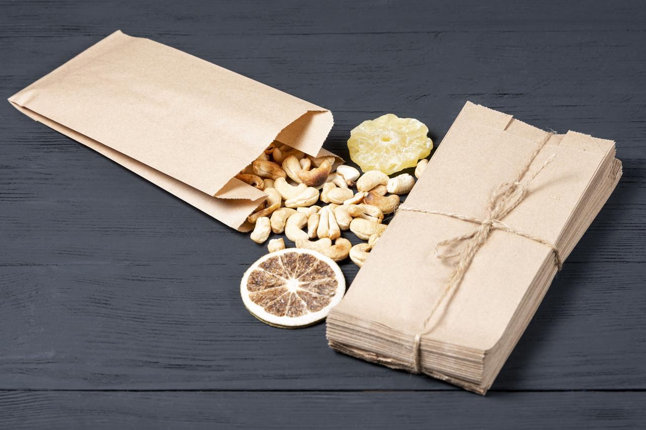 Паперовий пакет для чаю кави 100*70*230 мм крафт пакет для упаковки гарячої випічки, упаковка 1000 штук
