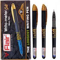 Ручка масляная, шариковая 10 км, черная Flair 743G Writometer Gold