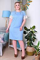Летнее платье для полных женщин лён с кружевом