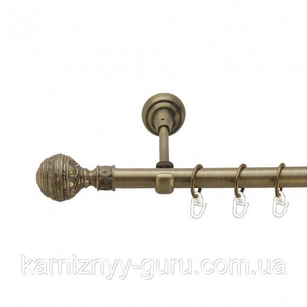 Карниз для штор ø 25 мм, одинарный, наконечник Барокко