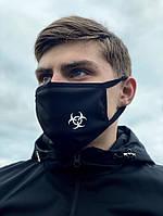 Маска многоразовая защитная чёрная с принтом Virus-Cobra