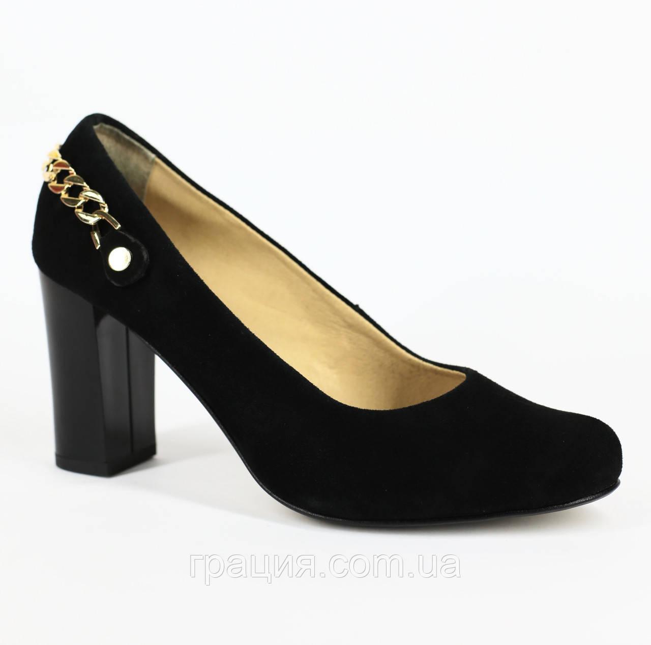 Туфлі жіночі замшеві натуральні на підборах