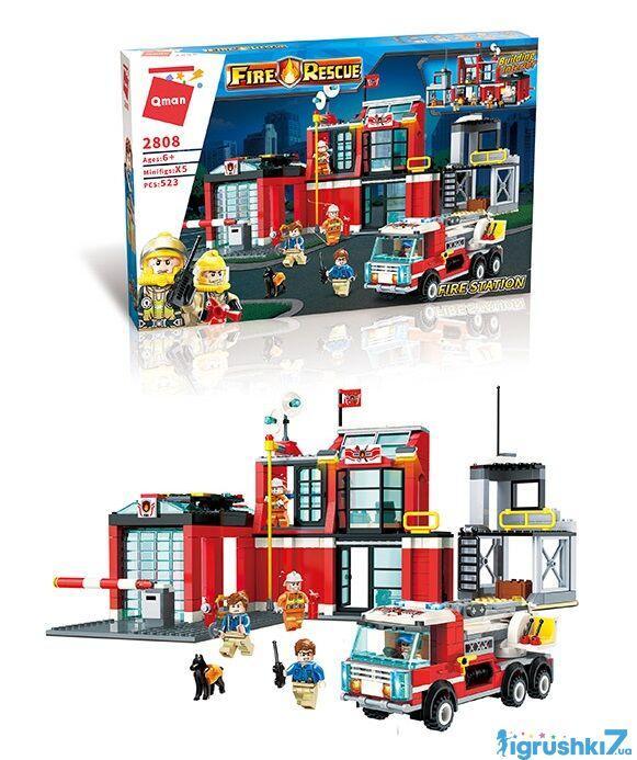 Конструктор Brick 2808 Пожарная станция 523 детали
