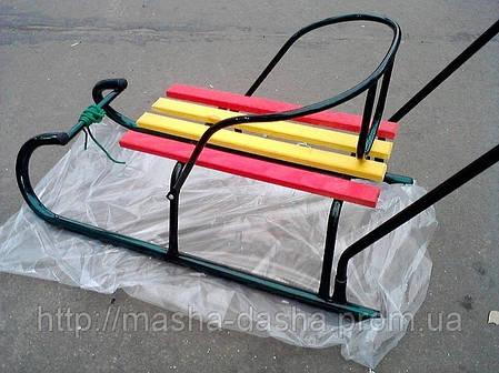 Детские санки металлические с ручкой для родителей., фото 2