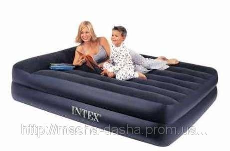 Надувная двуспальная кровать Intex 66702, размер 208х163х50 см, с встроенным электрическим насосом