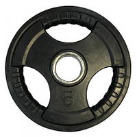 Диск олімпійський прогумований з хватами Olimpic 5 кг