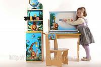 "Комплект детской мебели Baby Elit: стол с двухсторонним мольбертом, стул и этажерка ""Мадагаскар""."