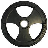 Диск олімпійський прогумований з хватами Olimpic 10 кг