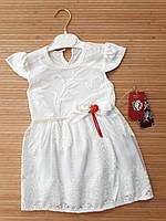 """Ошатне трикотажне плаття з коротким рукавом """"Софі"""" 6, 9, 12 міс квіти білі"""