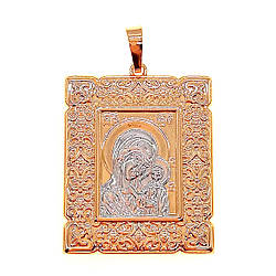 """Иконка Xuping """"Казанская Божия Матерь"""" из медицинского золота, позолота 18K + родий, 42410       (1)"""