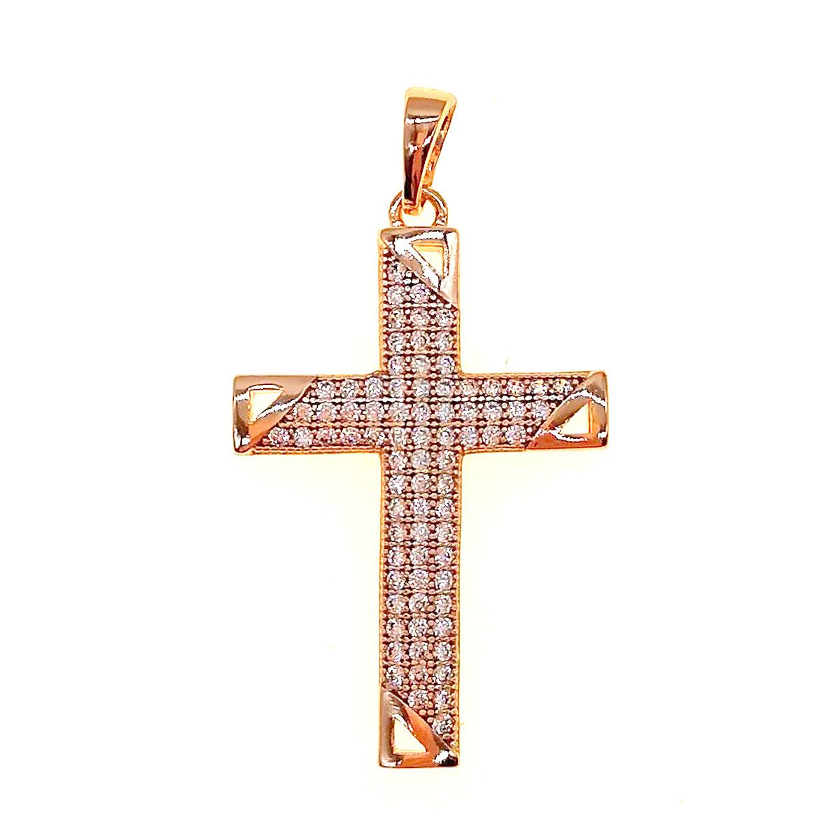 Крестик Xuping из медицинского золота, фианиты, позолота 18K, 42416       (1)