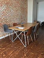 Великий стіл для переговорів в стилі Лофт Woodluck з Дуба та металу160х80