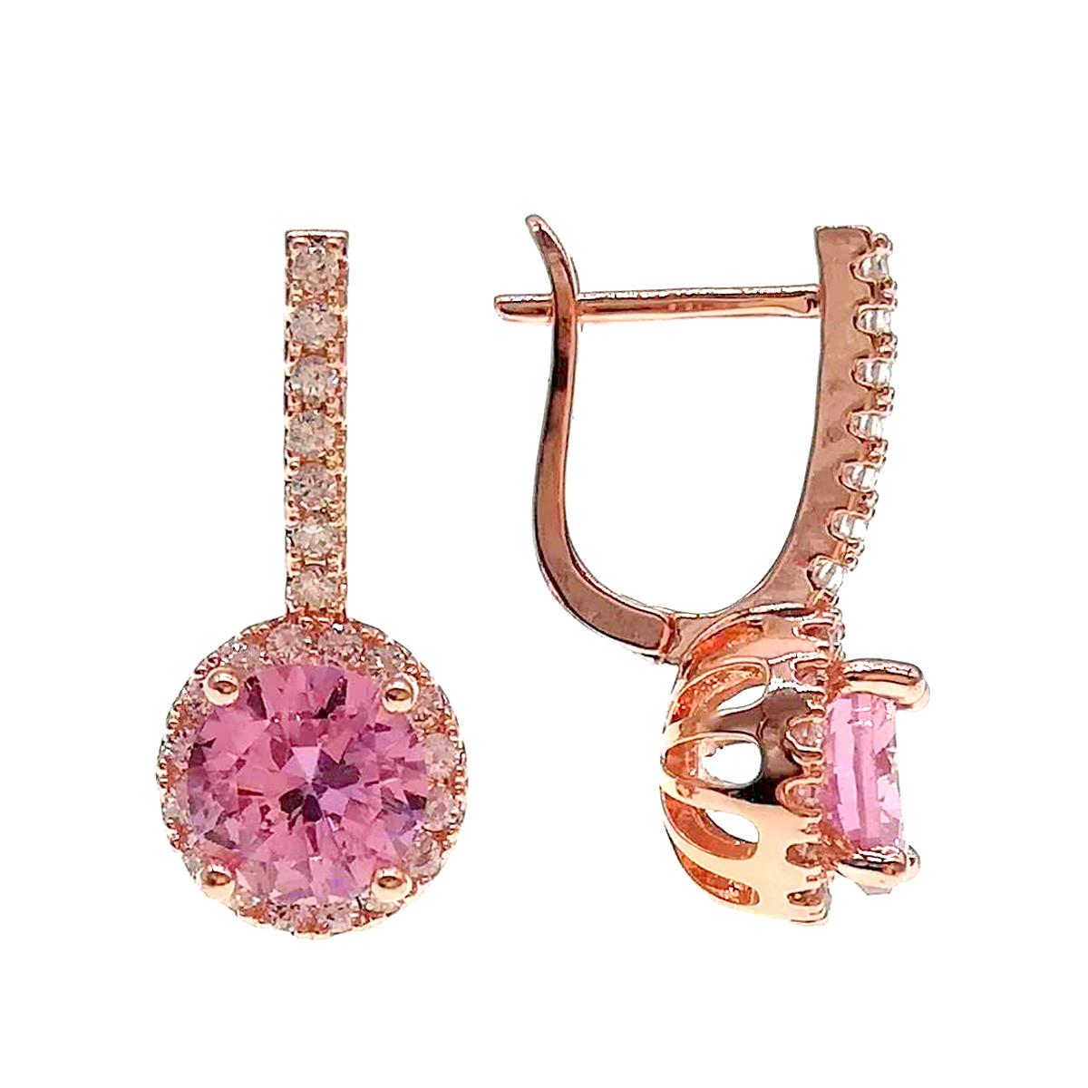 Серьги SONATA из медицинского золота, розовые фианиты, позолота PO, 24332       (1)