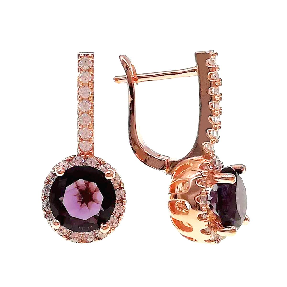 Сережки SONATA з медичного золота, фіолетові і білі фіаніти, позолота PO, 24329 (1)