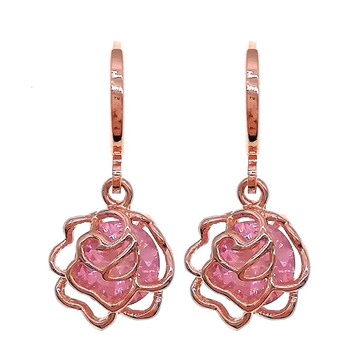 Серьги SONATA из медицинского золота, розовые фианиты, позолота PO, 24358       (1)