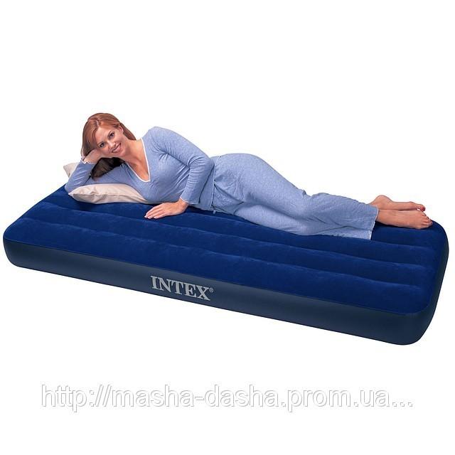 Одноместный надувной матрас Intex 68757, размер 99х191х22 см, без встроенного насоса