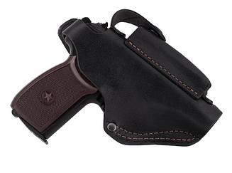 Кобура для ПМ - пистолет Макарова, поясная с чехлом подсумком под магазин, не формованная (кожаная, черная)