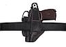 Кобура для ПМ - пистолет Макарова, поясная с чехлом подсумком под магазин, не формованная (кожаная, черная), фото 3